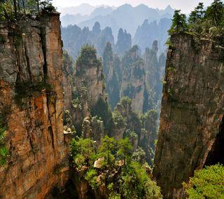 Обои на телефон сцена, китай, рок, камни, горы, вид, азия, азиатские, asian scene