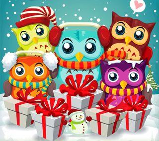 Обои на телефон сова, счастливое, снеговик, рождество, подарки, мультфильмы, зима, векторные