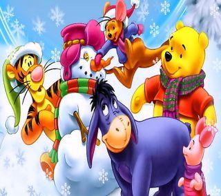 Обои на телефон снеговик, рождество, мультфильмы, винни, winnies christmas