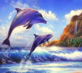 Обои на телефон подводные, delfine