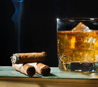 Обои на телефон сигара, виски, напиток, дым, алкоголь, fancy