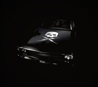 Обои на телефон транспорт, черные, череп, машины, логотипы
