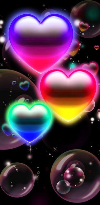 Обои на телефон пузыри, сердце, радуга, любовь, красочные, love, bubblehearts