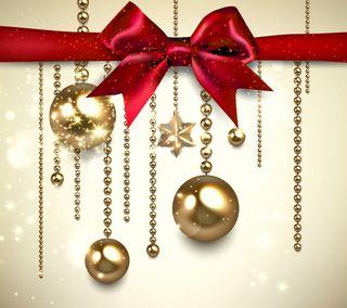 Обои на телефон лук, шары, украшение, счастливое, рождество, новый, золотые
