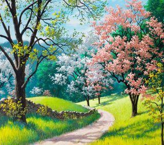 Обои на телефон взгляд, приятные, картина, весна, painting spring