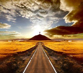 Обои на телефон небеса, путь, природа, пейзаж, крест, дорога, горы, абстрактные, road to heaven