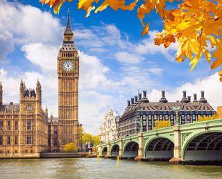Обои на телефон англия, озеро, мост, лондон, листья, британия, башня, westminster