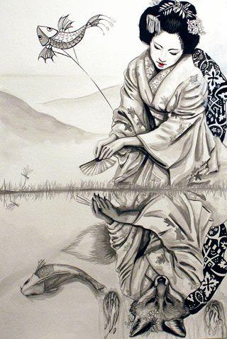 Обои на телефон японские, лиса, зеркало, женщина, the mirror, geisha