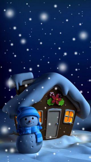 Обои на телефон холодное, снеговик, снег, рождество, синие, ночь, зима, blue night