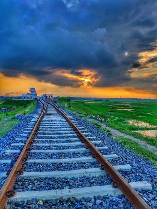 Обои на телефон hd, rail line, природа, дорога, линии, поезда, бангладеш, рельсы