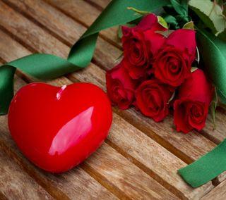 Обои на телефон свеча, цветы, сердце, розы, лента, красые