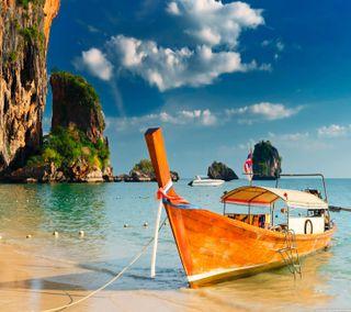 Обои на телефон лодки, пляж, at