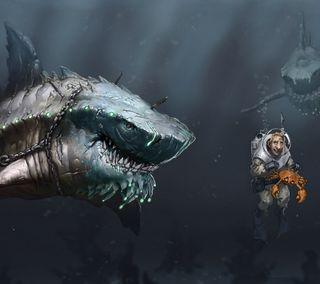 Обои на телефон акула, вода, diver