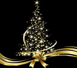 Обои на телефон счастливое, рождество, золотые, дерево