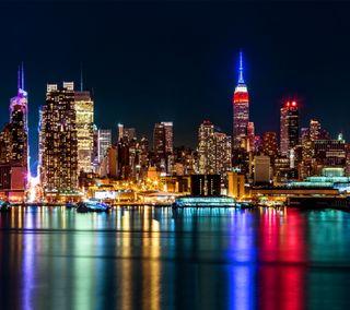 Обои на телефон цветные, сша, огни, новый, город, вечер, usa
