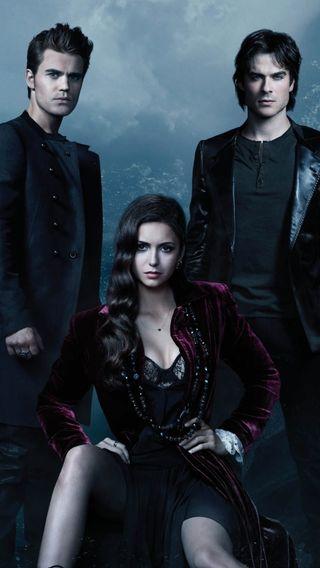 Обои на телефон catherine, damon, elena, vampire diaries, вампиры