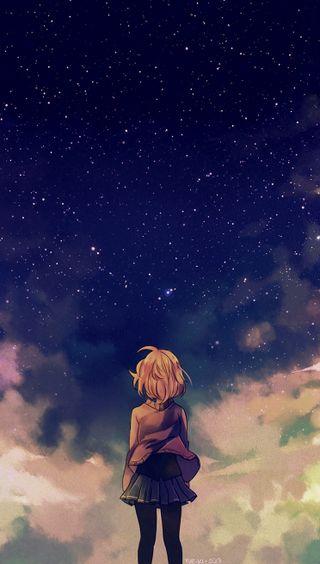 Обои на телефон ночь, звезды, девушки, аниме