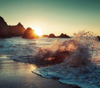 Обои на телефон океан, природа, волны, вода, ocean waves