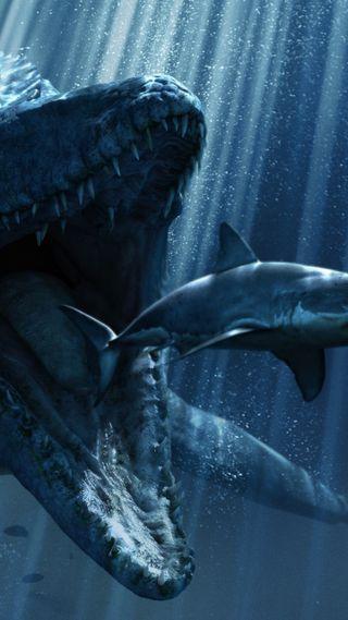 Обои на телефон акула, постер, океан, мир, динозавр, вода