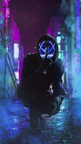 Обои на телефон черные, фотография, синие, свет, неоновые, маска, мальчик, люди, легенды, led mask