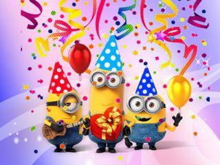 Обои на телефон шары, день рождения, счастливые, мультики, миньоны, minion birthday, 640x480px