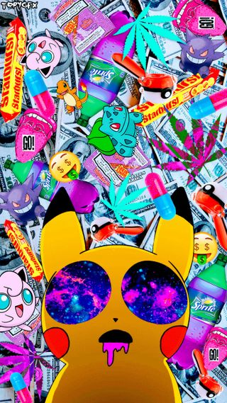 Обои на телефон счета, коллаж, покемоны, доллары, граффити, арт, picachu, dope, dollar bills, art