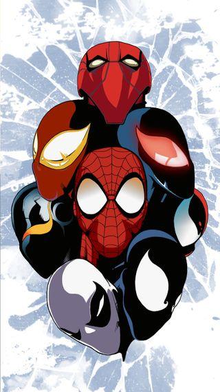 Обои на телефон через вселенные, рисунок, человек паук, марвел, дизайн, marvel
