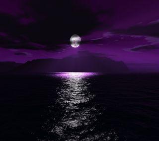 Обои на телефон фиолетовые, природа, луна, hd