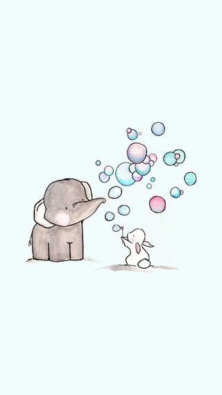 Обои на телефон кролик, пузыри, милые, друзья, eleohant