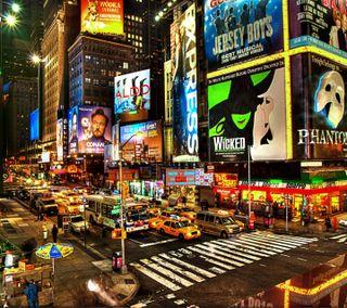 Обои на телефон удивительные, освещение, ночь, новый, машины, йорк, город, photograph