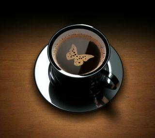 Обои на телефон кофе, бабочки, арт, hd, art