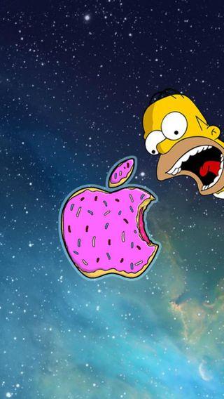 Обои на телефон гомер, эпл, симпсоны, пончик, логотипы, apple