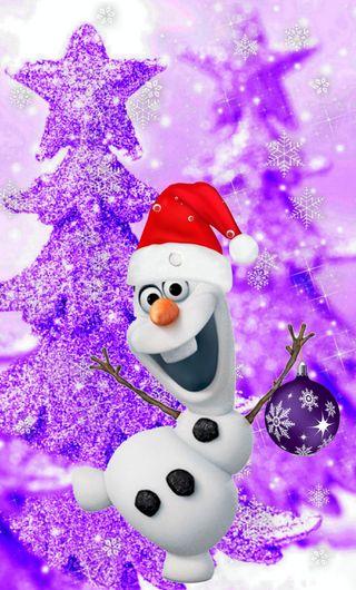 Обои на телефон холодное, фиолетовые, счастливое, снеговик, рождество, олаф, purple xmas, 480x800px