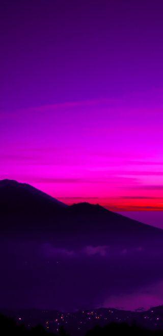 Обои на телефон холм, фиолетовые, розовые, природа, красота, закат, город, s8