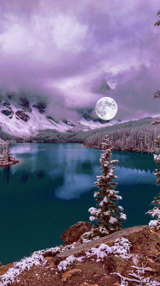 Обои на телефон холод, сезон, природа, озеро, новый, луна, крутые, зима, hd