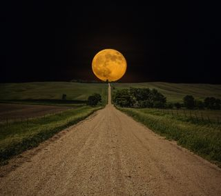 Обои на телефон путь, природа, лунный, луна, дорога