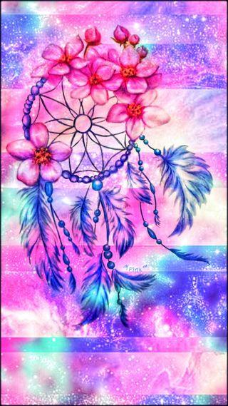 Обои на телефон мечта, цветы, сказочные, синие, сверкающие, розовые, ловец снов, блестящие, striped, fairy dream