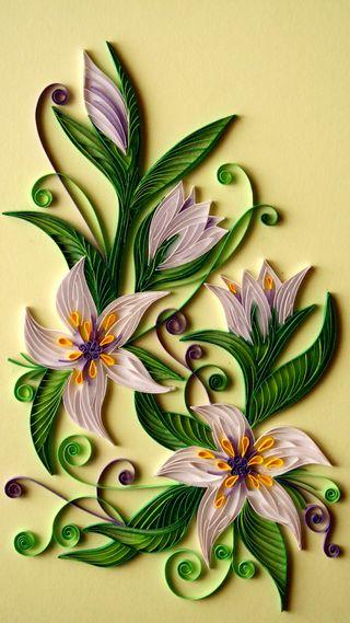 Обои на телефон бумага, цветы, зеленые, желтые