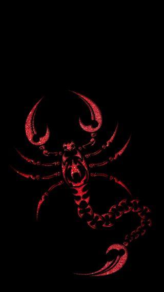 Обои на телефон скорпион, черные, красые, блестящие, red scorpion