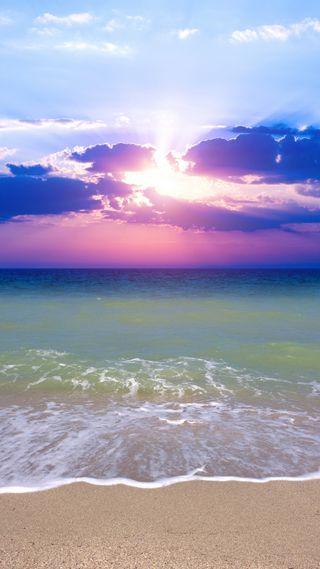 Обои на телефон пляж, море, красочные, восход, вода
