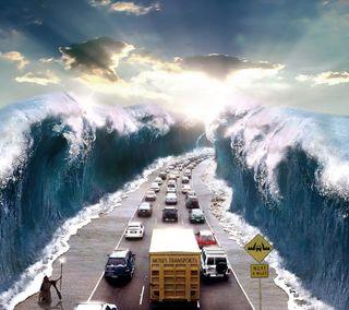 Обои на телефон эпичные, путь, океан, море, дорога, волна, вода, epic path