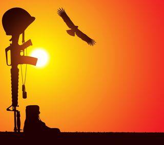 Обои на телефон упавший, орел, солнце, солдат, оружие, военные, винтовка, бой, арт, армия, art