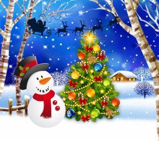 Обои на телефон счастливое, снеговик, санта, рождество, 1440x1280px
