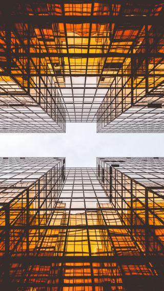 Обои на телефон архитектура, небо, линии, здания, upwards, up, fisheye, between