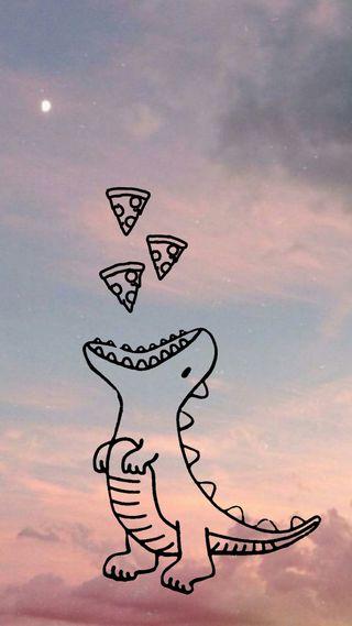 Обои на телефон пастельные, еда, милые, динозавр