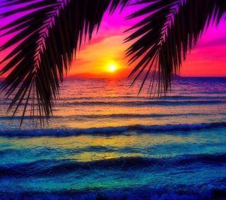 Обои на телефон seaside sunset, приятные, закат, взгляд