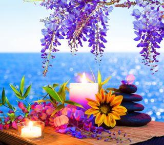 Обои на телефон спа, свечи, конепт, море, камни, вода, stones sea water, spa concept