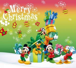 Обои на телефон подарок, счастливое, рождество, микки, друзья, дисней, mickey mause, disney