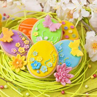 Обои на телефон празднование, цветные, печенье, пасхальные, красочные, желтые, декор, время