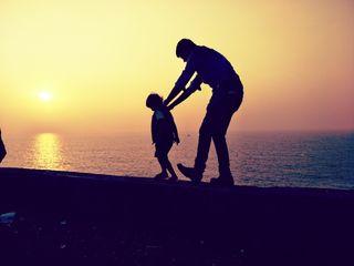 Обои на телефон отец, милые, малыш, любовь, закат, love